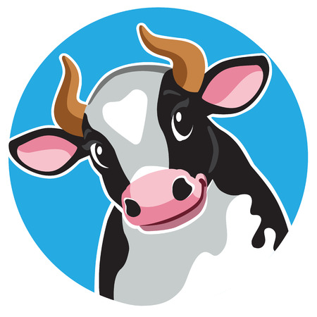 cartoon head of black spotted cow in circle shape .Cartoon icon, logo , emblem , sticker on blue background. Vector illustration