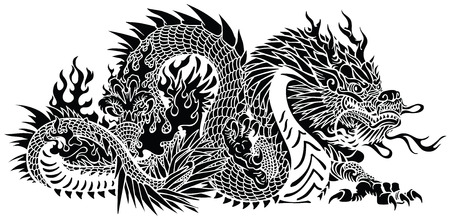 Eastern dragon. Chinese or Asian symbolic mythological creature. Side view .Black and white tattoo style vector illustration