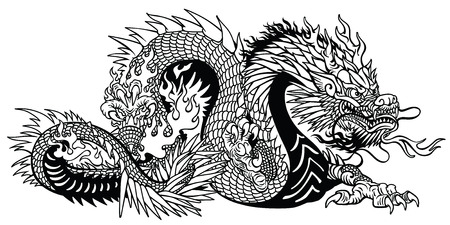 Chinese dragon. Eastern or Asian symbolic mythological creature. Side view. Black and white tattoo style vector illustration