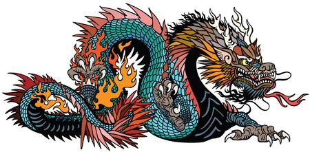 azzurro anche drago cinese verde blu. Creatura mitologica asiatica e orientale. Illustrazione vettoriale di stile tatuaggio isolato Vettoriali