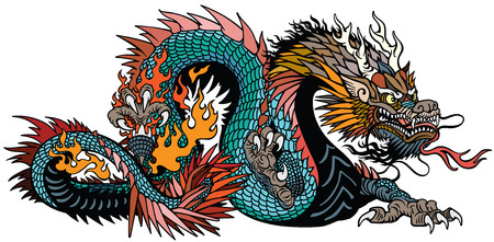 lazurowy również niebieski zielony chiński smok. Mitologiczny stwór azjatycki i wschodni. Ilustracja wektorowa na białym tle styl tatuażu Ilustracje wektorowe