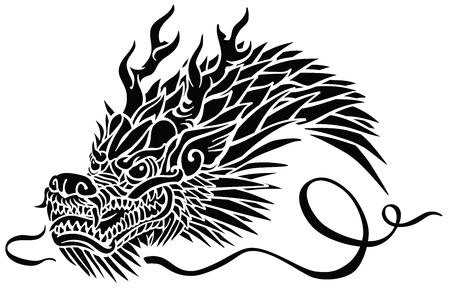 Head of Eastern dragon. Chinese or Asian symbolic mythological creature. Side view .Black and white tattoo style vector illustration Çizim