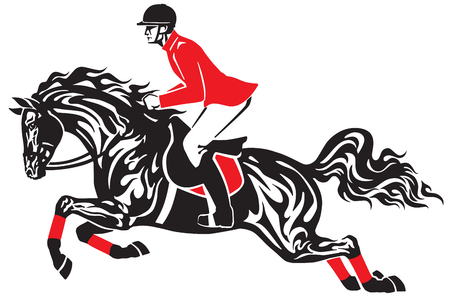 Horse show jumping . Equestrian sport competition . Horseman rider controls a horse jumping over an obstacle . Black and red side view vector illustration