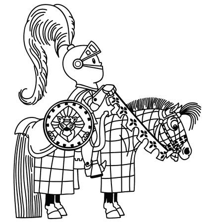 cartone animato cavaliere medievale cavaliere in armatura. Ragazzino un cavaliere seduto sul suo cavallo pony. Pagina da colorare per bambini piccoli. Illustrazione vettoriale di contorno Vettoriali