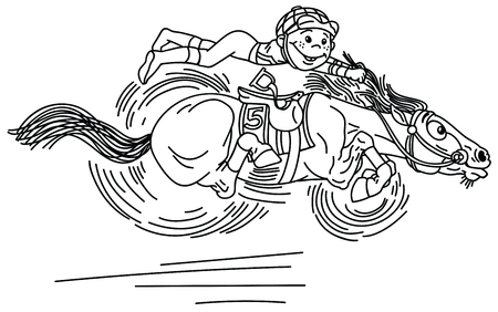 cartoon horse racing derby . Little boy jockey riding a pony very fast in a race . Funny equestrian sport . Black and white vector illustration. Coloring page