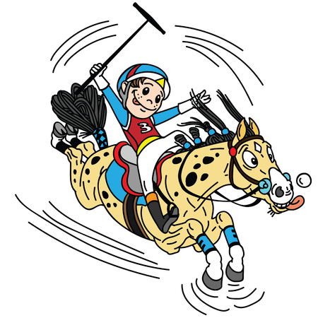 cartoon equestrian polo sport . Player little boy riding a pony horse and holding a mallet stick to hit a ball .The  horse in gallop . Vector illustration