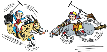 Two little boys on horseback playing a game of polo . Cartoon players and pony horses. Funny equestrian sport. Vector illustration