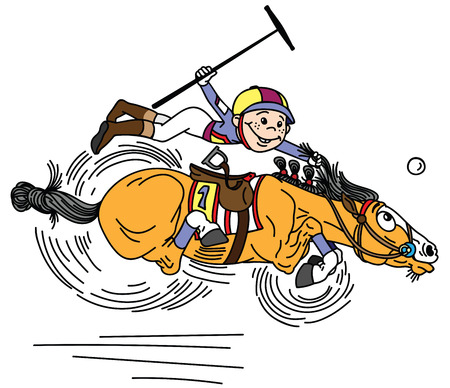 cartoon equestrian polo sport . Player little boy riding a pony horse and holding a mallet stick to hit a ball .The  horse in gallop . Vector illustration Stock Vector - 119096817