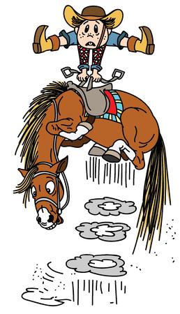 cartoon horse throws off a cowboy .Little boy rider on a bucking pony horseback . Funny equestrian sport  rodeo. Vector illustration Illustration