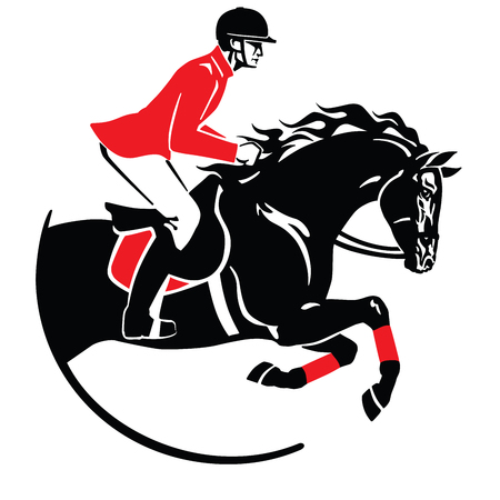 equestrian sport . Horse show jumping emblem, icon. Black and red vector