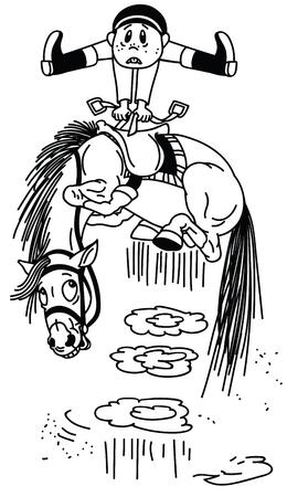 cartoon boy on a bucking horse.Naughty pony throws off a rider. Funny equestrian sport.