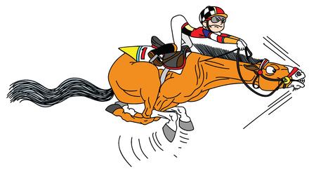 cavallo da corsa dei cartoni animati con fantino al galoppo a tutta velocità. Sport equestri divertenti. Derby. Vettoriali