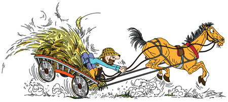cartoon old horse pulled a wooden cart with hay and aged farmer . Man trying to control his unruly playful old mare . Vector illustration 矢量图像