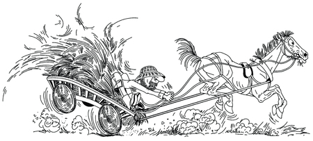 cartoon farmer on wooden cart with hay pulled by unruly old horse. Aged man trying to control his funny playful mare . Black and white outline vector illustration 矢量图像