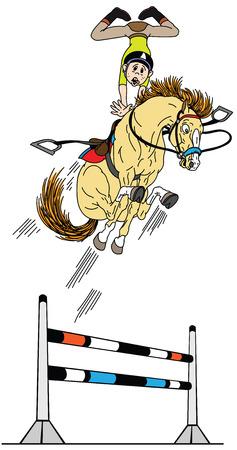 cartone animato cavallo che salta in alto. Giovane pilota che addestra il suo pony a saltare l'ostacolo. Sport equestri divertenti. Illustrazione vettoriale