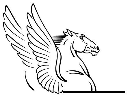 Logo Pegaza, godło. Zarys mitologiczny skrzydlaty koń. Czarno-biały wektor