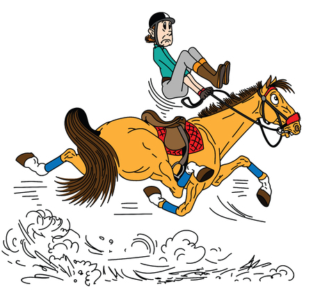 cartoon rider riding a horse . The adult man sitting on a fast trotting horseback and trying to balance in the saddle . Lesson of equestrian sport . Side view vector illustration Stock Illustratie