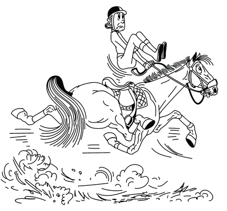 cartoon rider riding a horse . The adult man sitting on a fast trotting horseback and trying to balance in the saddle . Lesson of equestrian sport . Black and white  vector illustration
