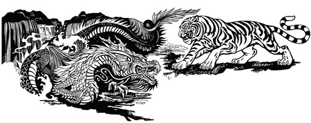 Chinese East Asian dragon versus tiger . Two spiritual creatures in the Buddhism representing the spirit heaven and matter earth. Black and white graphic style vector illustration Ilustracja