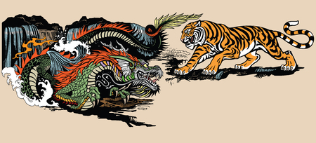 Green Chinese East Asian dragon versus tiger . Two spiritual creatures in the Buddhism representing the spirit heaven and matter earth. Graphic style vector illustration Illusztráció