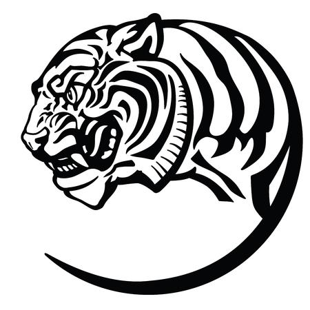 tête de tigre. Tatouage d'insigne d'emblème d'icône de logo. Illustration de vecteur d'isolement noir et blanc
