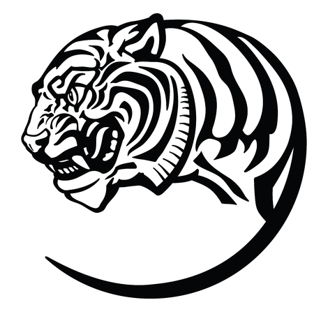 testa di tigre. Tatuaggio distintivo dell'emblema dell'icona del logo. Illustrazione vettoriale isolato in bianco e nero