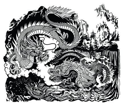 Two Chinese East Asian dragons in the landscape with waterfalls, mountains, clouds and water waves. Black and whit graphic style vector illustration Ilustração