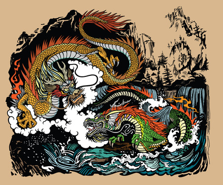 Two Chinese East Asian dragons in the landscape with waterfalls, mountains, clouds and water waves. Graphic style vector illustration