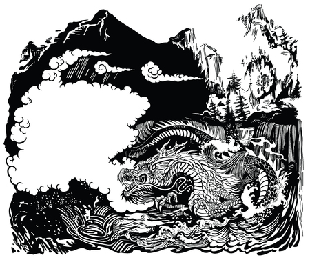 Chinese or East Asian dragon guardian of the earths waters .The landscape with mountains, clouds, waterfalls and water waves. Black and white graphic style vector illustration