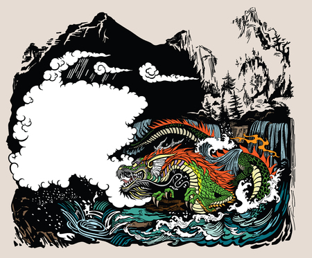 Chinese or East Asian dragon guardian of the earths waters .The landscape with mountains, clouds, waterfalls and water waves. Graphic style vector illustration