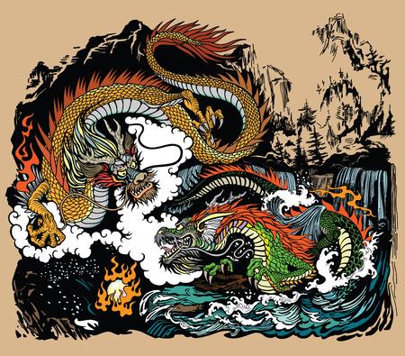 Dos dragones chinos de Asia Oriental rodeando una perla llameante. Paisaje con cascadas, montañas, nubes y ondas de agua. Ilustración de vector de estilo gráfico Ilustración de vector