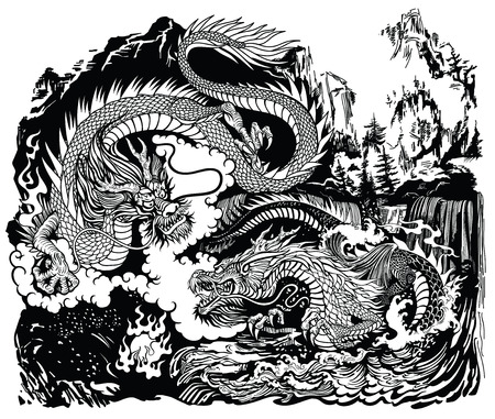 Two Chinese East Asian dragons encircling a flaming pearl. Landscape with waterfalls, mountains, clouds and water waves. Black and white graphic style vector illustration