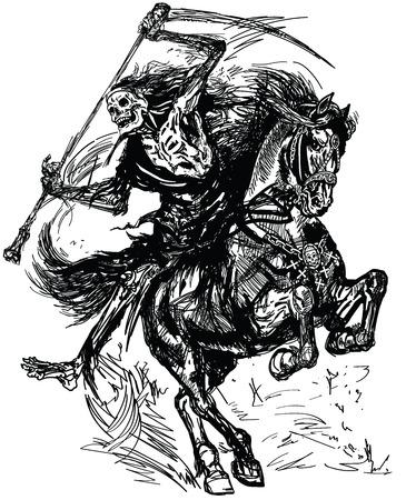torvo mietitore cavaliere tenendo una falce e seduto a cavallo. Cavaliere oscuro della morte. Cavallo al galoppo. Illustrazione di vettore di stile del tatuaggio in bianco e nero