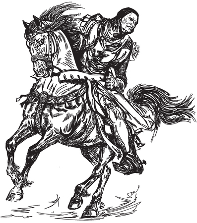 Medieval knight galloping his horse. Black and white graphic style vector illustration