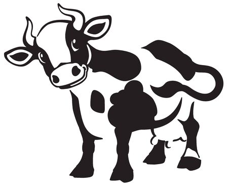cartoon spotted cow . Black and white icon, logo , emblem . Isolated vector illustration Ilustração