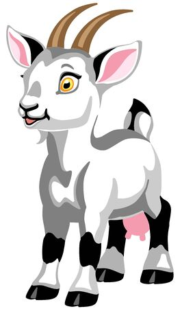 cartoon white goat female. Isolated vector illustration for babies and little kids