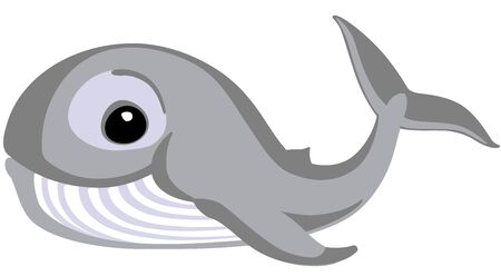 Cartoon whale. Side view icon. Isolated vector illustration for little kids