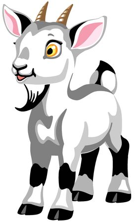 cartoon little white goat. Isolated vector illustration for babies and little kids
