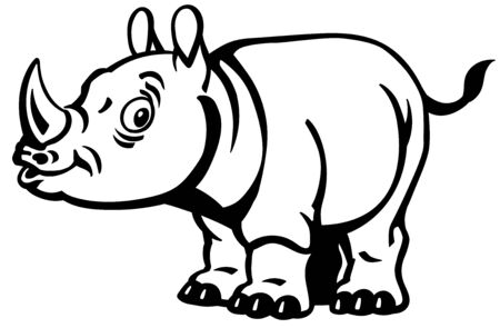 Cartoon rhino. Baby rhinoceros side view. Black and white vector illustration for little kids