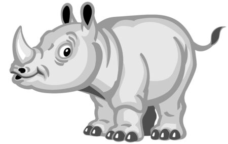 Cartoon rhino. Baby rhinoceros side view. Isolated vector illustration for little kids