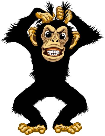 cartoon chimp or chimpanzee monkey pulls his fur hair out and showing teeth. Angry or stressed emotion. Standing pose in the front view. Isolated vector illustration