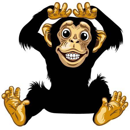 Cartoon Schimpanse oder Schimpanse Affe lächelt fröhlich mit einem großen Lächeln auf dem Gesicht, das Zähne zeigt. Positive und glückliche Emotionen. Sitzende Haltung. Vorderansicht. Isolierte Vektorillustration