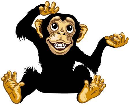 cartoon chimp ape or chimpanzee monkey smiling cheerful with a big smile on face showing teeth and looking up. Positive and happy emotion. Sitting pose. Front view. Isolated vector illustration
