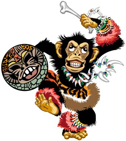 cartoon chimp ape or chimpanzee monkey the African shaman dancing with a drum and wearing jewelry. Emotion of trance ritual dance. Front view isolated vector illustration Stock Illustratie