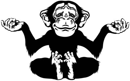 cartoon chimp great ape or chimpanzee monkey sitting in lotus joga position and meditating. Calm and peaceful emotion. Front view. Black and white isolated vector illustration