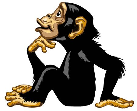 Cartoon Chimpanzee in thinker profile. Great ape or chimp monkey in sitting pose and looking up. His one hand on chin. Romantic emotion. Isolated side view vector illustration