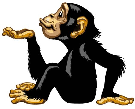 Cartoon chimpanzee keeping empty cupped hand palm up. Great ape or chimp monkey in sitting pose blowing air kiss. Positive attractive joyful and happy emotion. Side view isolated vector illustration Vectores