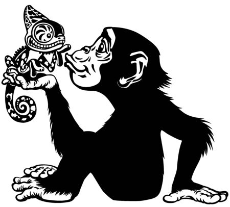Cartoon chimpanzee holding a chameleon. Great ape or chimp monkey in sitting pose blowing a kiss to lovely lizard on his hand palm. Playful and happy emotion. Black and white side view vector illustration