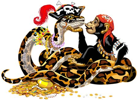Cartoon chimpanzee and big snake pirates near the treasure. Great ape or chimp monkey and Python Boa Constrictor wearing golden crown and pearl necklace laying on pile of gold coins and jewelry. Isolated vector illustration