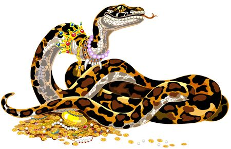cartoon big snake guarding the treasure. Python Boa Constrictor wearing golden crown and pearl necklace laying on pile of gold coins and jewelry. Isolated vector illustration